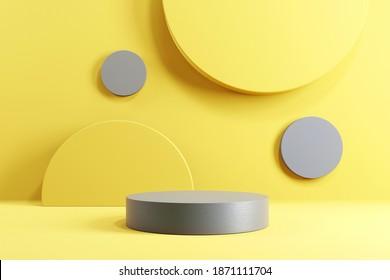 Abstrakte minimale Szene mit geometrischen Formen. Zylinder-Podium-Bühne auf gelbem und grauem Hintergrund. für die Show-Produktpräsentation 2021, mock up, 3d rendern.