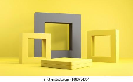 Abstrakte minimale Szene mit geometrischen Formen. Cube-Podium-Bühne auf gelbem und grauem Hintergrund. für die Show-Produktpräsentation 2021, mock up, 3d rendern.
