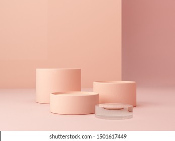 Abstract minimal scene with geometrical forms. Cylinder podiums in cream colors. Abstract background. Scene to show cosmetic podructs. Showcase, shopfront, display case. 3d render.