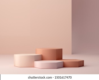 Abstract minimal scene with geometrical forms. Hexagonal podiums in cream colors. Abstract background. Scene to show cosmetic podructs. Showcase, shopfront, display case. 3d render.