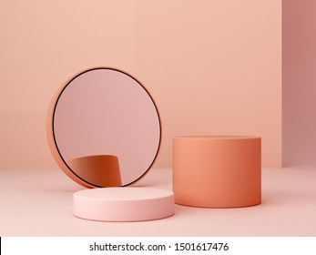 Abstract minimal scene with geometrical forms. Cylinder podiums in cream colors and mirror. Abstract background. Scene to show cosmetic podructs. Showcase, shopfront, display case. 3d render.