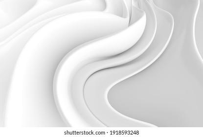 Abstract Minimal Wallpaper. White Modern Geometric Design. 3d Illustration