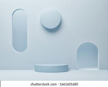 Abstract minimalism podium for product presentation, blue background, 3d render, 3d presentation