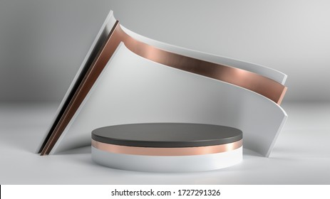 Abstract minimalistic scene with black,white and golden podium, stage or pedestal in white studio. Perfect image for fashion, clothes or cosmetics. Place your object or product on pedestal. 3d