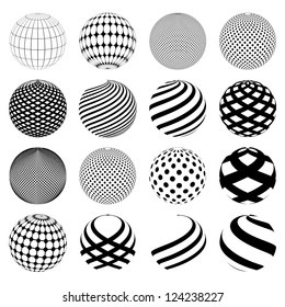 Abstract minimalistic world globe Sphere isolated on white background, vector of shapes.