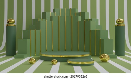 Abstract mockup showcase podium for product promotion display 3d illustration background. Green and gold colour scene. Trendy 3d render for social media banners for cosmetics.