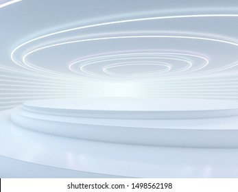 Abstract modern architecture background, empty open space interior. 3D rendering