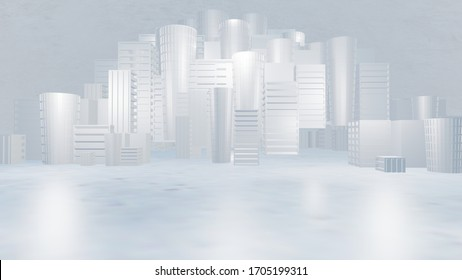Abstract Modern Architecture Background, Empty White Open Space,3D illustration