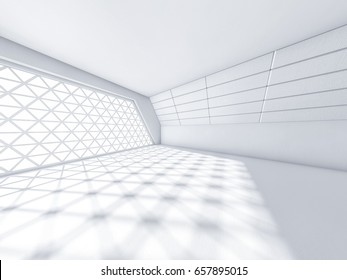 Abstract modern architecture background, empty white open space interior with windows and concrete walls. 3D rendering