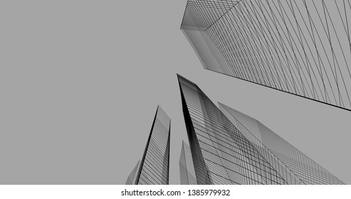 Abstract modern architecture building 3d illustration