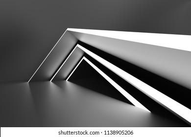 Abstract Modern Background. Minimal Architecture Design. Black Creative Wallpaper. 3d Rendering
