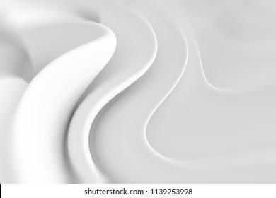 Abstract Modern Background. Minimal Wave Design. White Creative Wallpaper. 3d Illustration