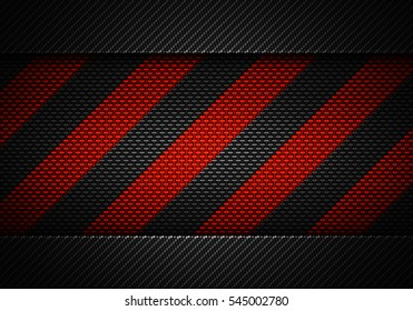 Abstract modern black carbon fiber textured material design with warning tape in center for background, wallpaper, graphic design