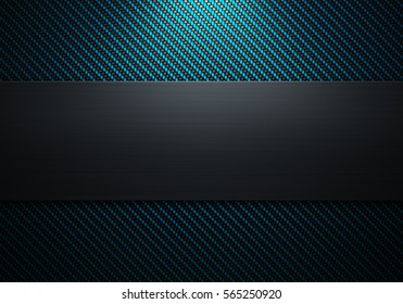 Abstract modern carbon fiber with polish metal plate on center texture material design for background, wallpaper, graphic design