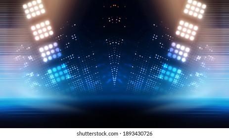 Abstract modern dark background. Dark empty scene with neon rays and spotlights. Night abstract background  light. Neon light, reflection. 3D illustration.