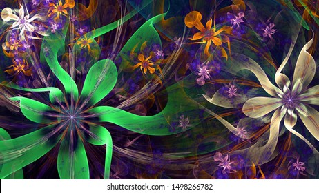 Abstract modern fractal background with twisted interconnected psychedelic space flowers with intricate decorative  pattern surrounding them in glowing green,blue,orange,pink
