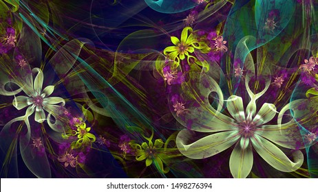 Abstract modern fractal background with twisted interconnected psychedelic space flowers with intricate decorative  pattern surrounding them in glowing pink,yellow,teal, purple