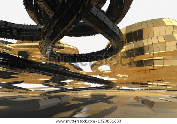 Abstract Modern Future Architecture Contains Strangeshaped Stock ...