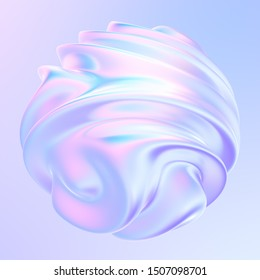 Abstract modern graphic 3D element. Holographic colored shape. Gradient with flowing liquid shapes. For flyers posters or presentations. 3d rendering.