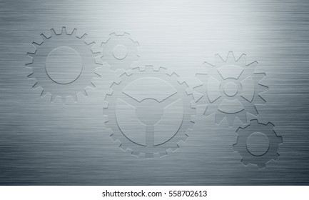 Abstract modern grey polished metal plate with stamped gear icons for background, wallpaper, graphic design