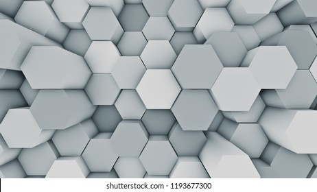 Abstract modern hexagonal surface 3D illustration. Bright blue voxel grid particle honeycombs moving up and down in waves. Technology, information and future concept in loopable background.