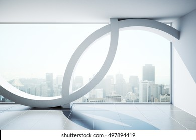 Abstract modern interior with city view and daylight. 3D Rendering
