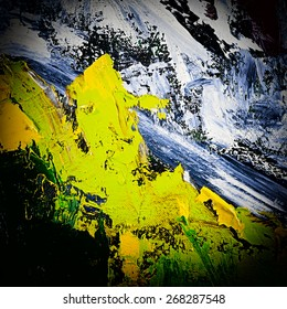 abstract modern painting fragment. palette knife oil on canvas. artistic background. vignetting