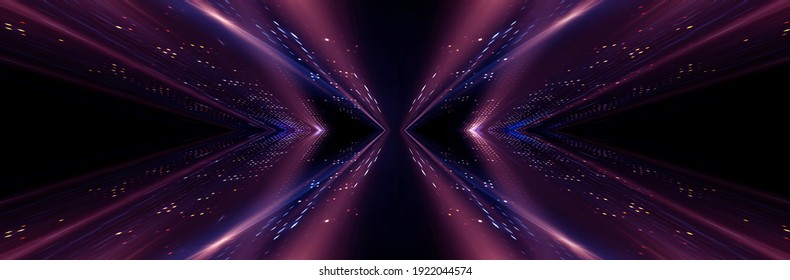 Abstract modern purple neon background. Futuristic rays and moon. Dark LED stage with geometric patterns. Symmetrical reflection, noeon light. 3D illustration.