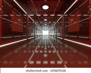 Abstract modern red architecture background, empty open space interior. 3D rendering