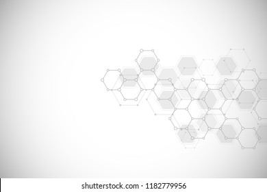 Abstract molecular structure and chemical elements. Medical, science and technology concept. Geometric background from hexagons