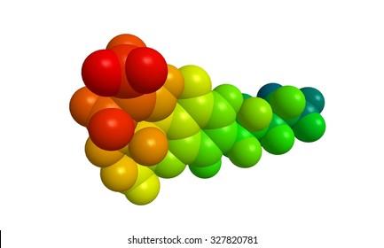 Abstract molecular structure of THC (Tetrahydrocannabinol)- rainbow colors