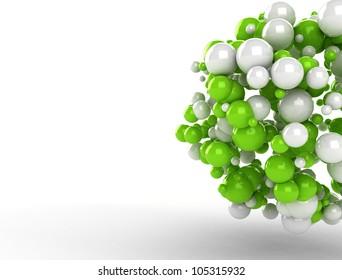 Abstract molecules 3d render