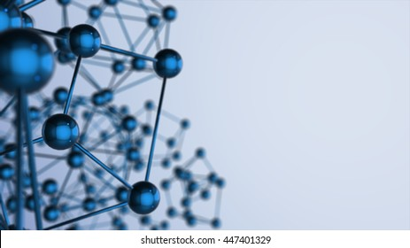 Abstract molecules design. 3D render. Atoms. Medical background for banner or flyer. Molecular structure with blue spherical particles.