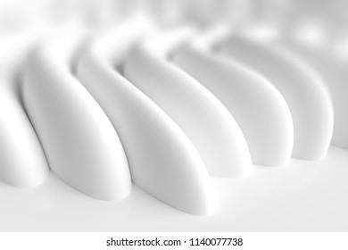 Abstract Monochrome Background. Minimal Futuristic Design. White Geometric Wallpaper. 3d Illustration