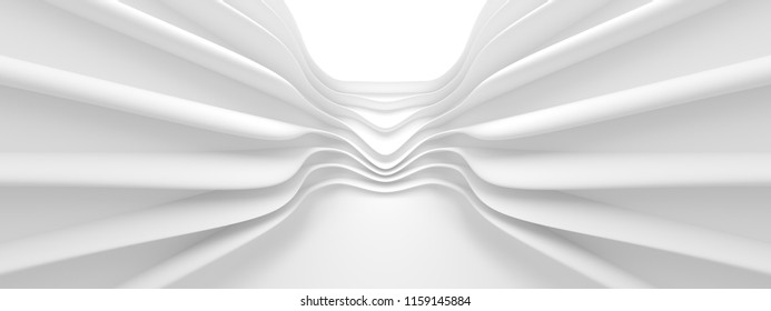 Abstract Monochrome Background. Minimal Futuristic Design. White Geometric Wallpaper. 3d Rendering