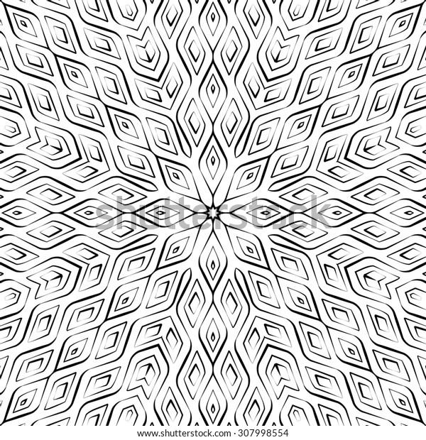 Abstract monochrome geometric seamless pattern. Raster version