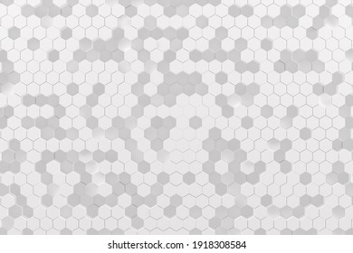 Abstract monochrome white geometric pattern or background made of chaotic hexagonal surface polygons. 3d rendering of realistic honeycomb backdrop or wallpaper