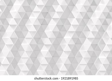 Abstract monochrome white geometric pattern or background made of chaotic triangle surface polygons. 3d rendering of realistic backdrop or wallpaper