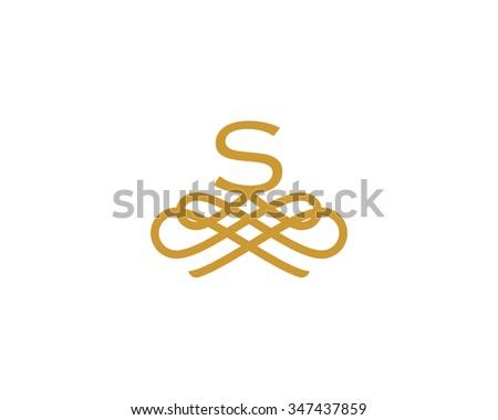 Abstract Monogram Elegant Flower Logo Icon Stock Illustration