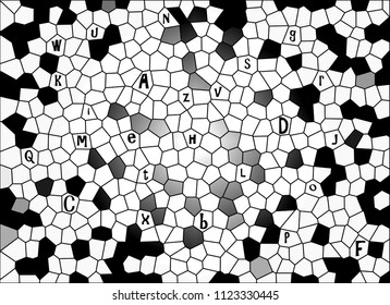 Abstract mosaic background with patterns in black and white, graduated with light from the middle spreading out, and the alphabet letters represented as detail.