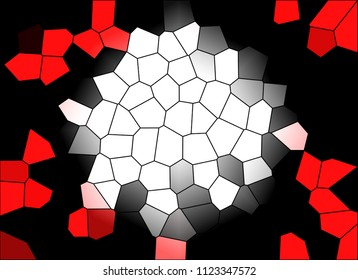 Abstract mosaic background in red, black, grey and white colors, bright in the middle and darker on the sides.