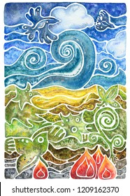Abstract mosaic composition with natural elements, flora and fauna: birds, leaves, plant, sky, cloud, fire, water, earth and metal. Watercolor illustration.