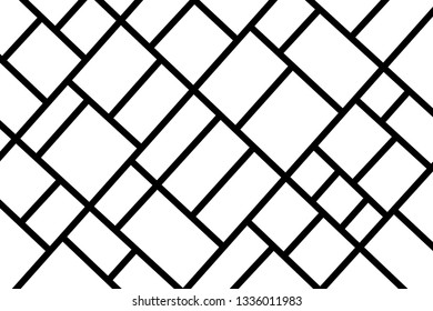 Abstract mosaic pattern grid black and white - illustration