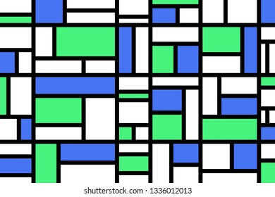 Abstract mosaic pattern grid with random colours blue and green - illustration