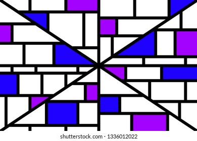 Abstract mosaic pattern grid with random colours blue and purple - illustration