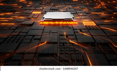 Abstract Motherboard circuit with CPU, microchips and electric signals 3d render