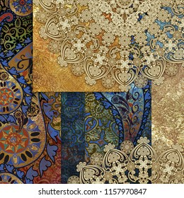 abstract motley patterned and golden backgraund