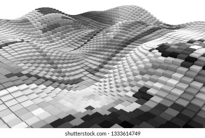 abstract mountain of black and white cubes against a white background - 3d artwork