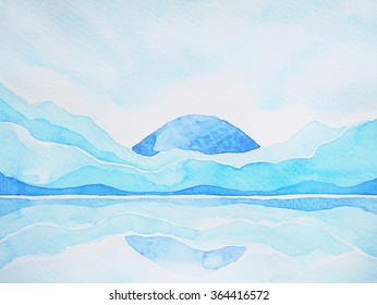 abstract mountain hill, sky and water space landscape, watercolor painting drawing illustration design, huge peace space