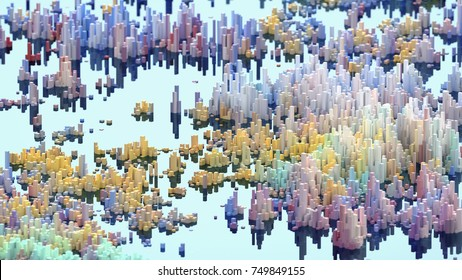 Abstract mountain landscape. Colorful 3d voxel landscape. Heatmap surface made of rectangular blocks. Element of design. Abstract Scapes.